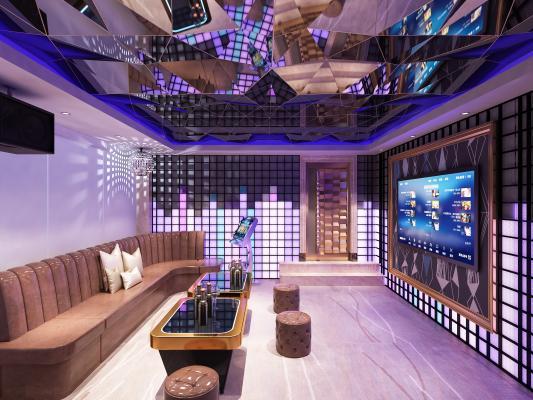 现代KTV酒吧包厢3D模型【ID:843404100】