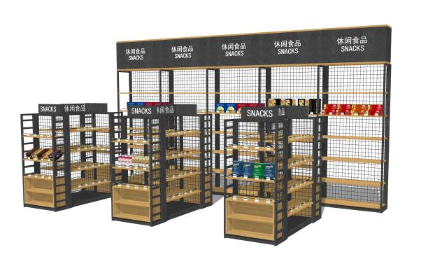 现代休闲零食超市货架组合SU模型【ID:748563305】
