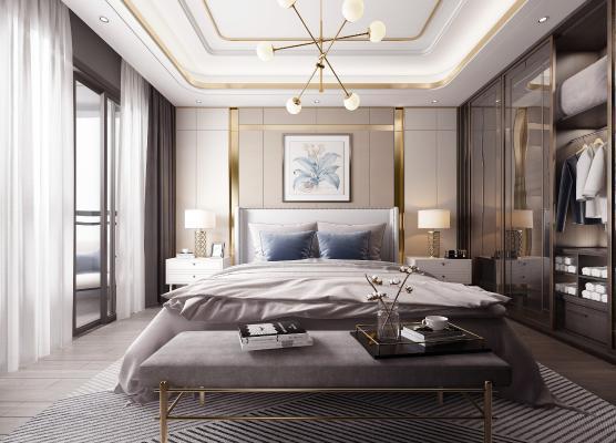 现代轻奢卧室3D模型【ID:552451233】