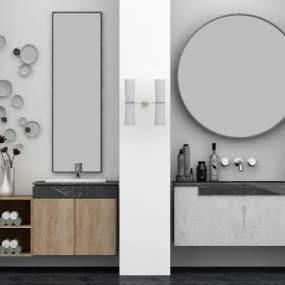现代卫浴洗手台组合3D模型【ID:131780839】