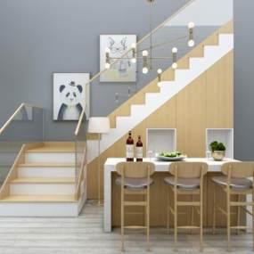 北欧楼梯扶手栏杆吧台椅子组合3D模型【ID:330573500】
