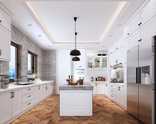美式白色厨房岛台3D模型【ID:141501718】