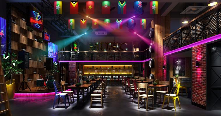 工业风酒吧3D模型【ID:845515028】