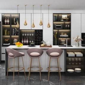 现代吧台吧椅酒柜冰箱厨房摆件组合3D模型【ID:934079288】