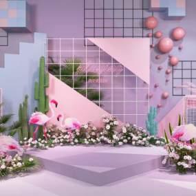 現代網紅店背景墻合影區3D模型【ID:234295521】