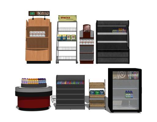 现代商场超市货架SU模型【ID:748563300】