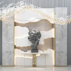 现代云朵背景墙玄关柜3D模型【ID:135377079】