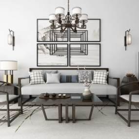 新中式沙发茶几吊灯地毯组合3D模型【ID:643713778】