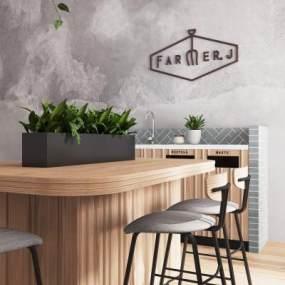北欧咖啡厅吊灯吧台3D模型【ID:642079334】