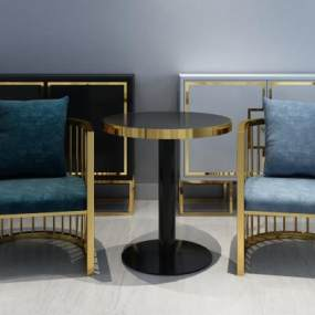 现代轻奢边桌椅边柜角几组合3D模型【ID:649206837】