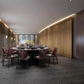 新中式宴会厅3D模型【ID:634938209】