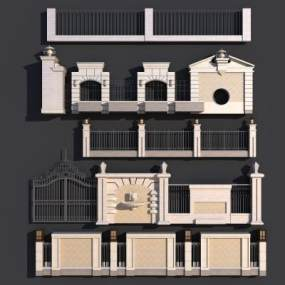 现代围墙3D模型【ID:331333446】