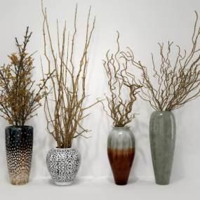 新中式干支干花花瓶组合3D模型【ID:235305833】