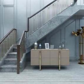 现代金属栏杆实木扶手3D模型【ID:536050025】