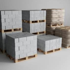 现代建筑材料水泥水泥砖3D模型【ID:333992471】