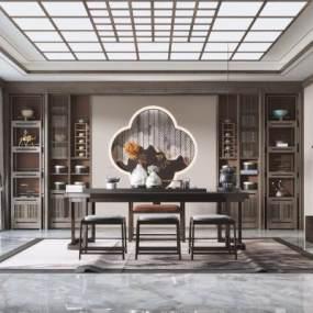 新中式风格茶室3D模型【ID:652879133】