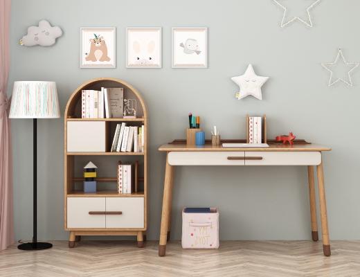 北欧实木书柜 书桌