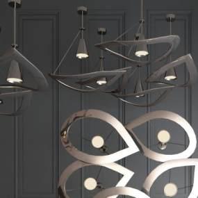 現代輕奢金屬吊燈3D模型【ID:753749886】