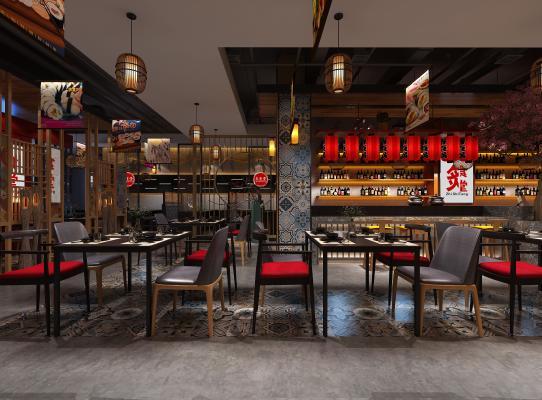 日式餐厅3D模型【ID:637128234】