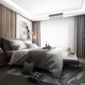 现代卧室3D模型【ID:533768243】