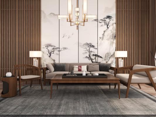 新中式沙發3D模型【ID:643597738】