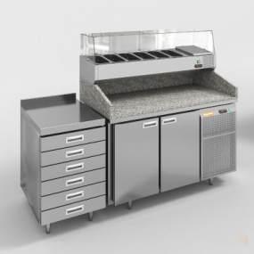现代不锈钢石材台面橱窗柜3D模型【ID:134526820】