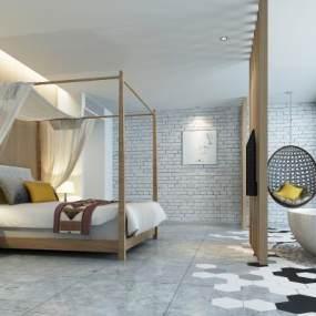 北欧酒店客房3D模型【ID:733495321】
