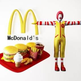 现代麦当劳汉堡薯条人物组合3D模型【ID:335472017】