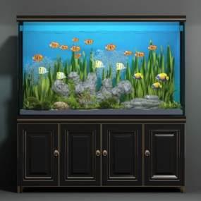 现代鱼缸模型3D模型【ID:233064563】