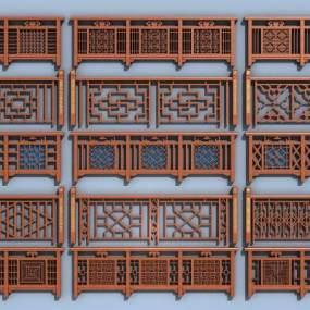 新中式实木栏杆护栏扶手3D模型【ID:335811400】