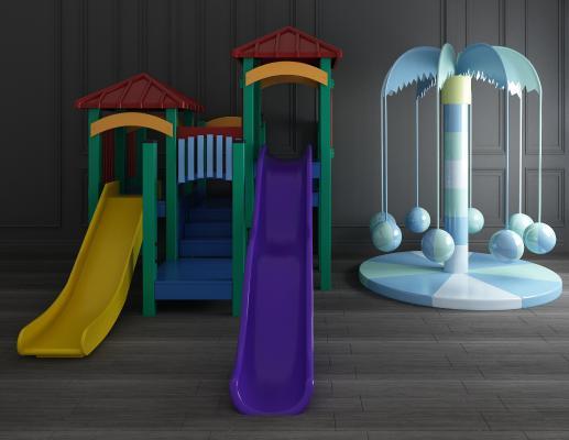 现代儿童滑滑梯3D模型【ID:442713117】