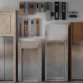 現代電梯門按鍵3D模型【ID:446749576】