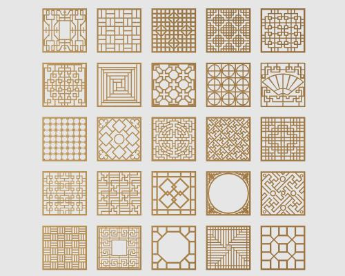 中式镀金花格窗3D模型【ID:342551713】