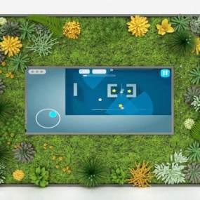 现代植物背景墙3D模型【ID:245939732】