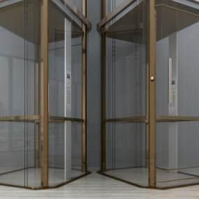 现代观光电梯升降电梯商场电梯3D模型【ID:932220940】