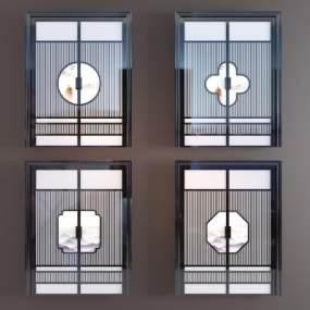 新中式实木玻璃水墨双开门3D模型【ID:345702162】