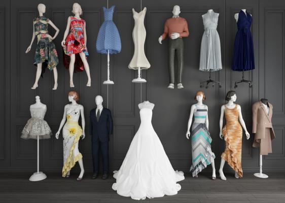 现代服装模特 女装模特 婚纱模特组合 人物 服装衣架
