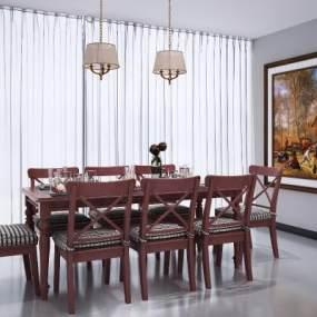 美式餐桌椅组合3D模型【ID:848645821】