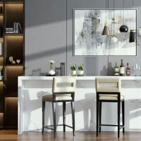 现代吧台吧椅组合3D模型【ID:732774235】