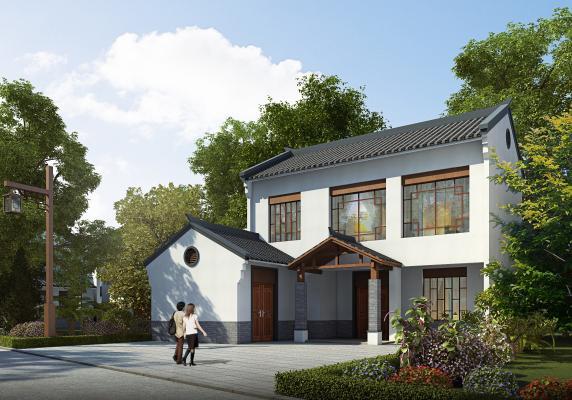 新中式乡村别墅3D模型【ID:147528346】
