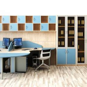 现代办公桌椅文件柜组合3D模型【ID:935829106】