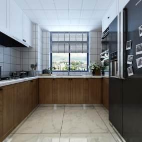 現代簡約廚房3D模型【ID:546917338】