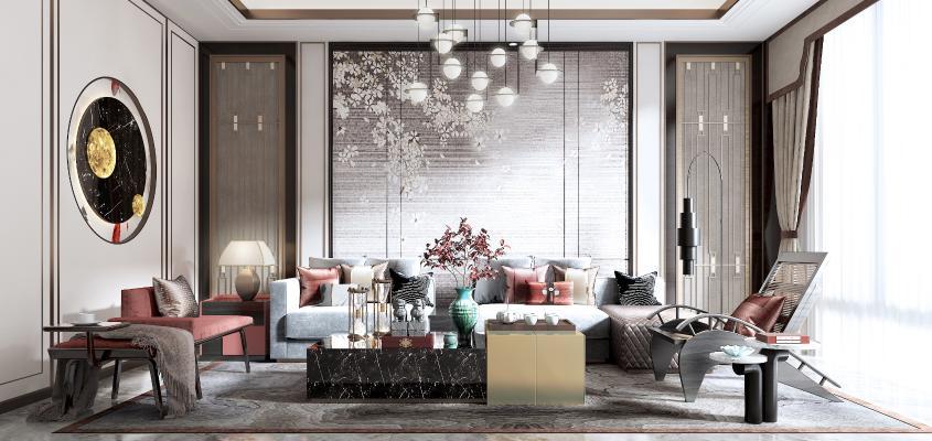 新中式客厅3D模型【ID:545629047】