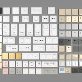 现代开关面板插座组合3D模型【ID:333233313】