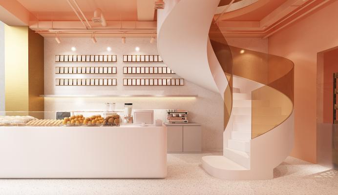 现代面包店 奶茶店 旋转楼梯 面包 咖啡桌椅 弥红灯 绿植 门头