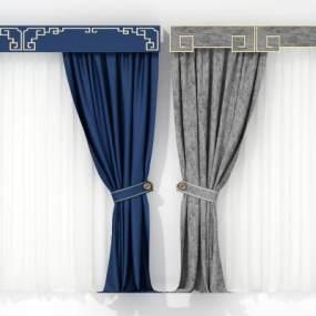 现代新中式窗帘组合3D模型【ID:233064658】