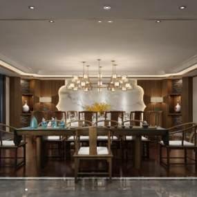 新中式餐厅包房3D模型【ID:645701284】