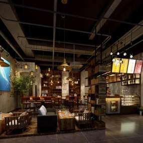 工业风时尚奢华咖啡厅3D模型【ID:635411338】