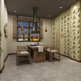 新中式民宿餐厅3D模型【ID:647152274】