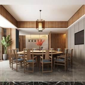 新中式餐厅3D模型【ID:653929862】